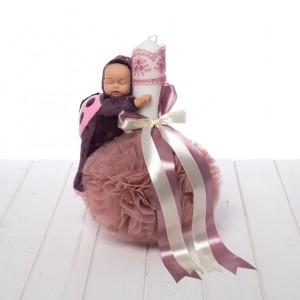 Lumanare botez roz prafuit figurina bebelus
