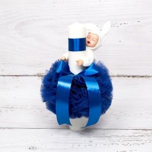Lumanare botez decor tulle albastru si bebelus