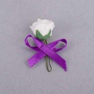 Cocarde trandafir alb fundita mov