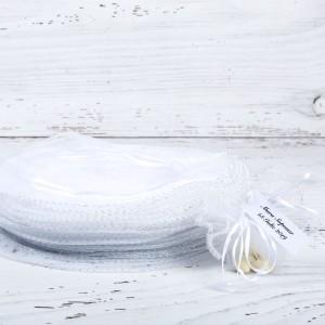 Marturii botez saculeti rotunzi albi cu fir argintiu