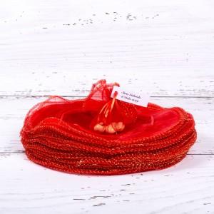Marturii botez saculeti rotunzi rosii cu fir auriu