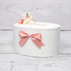 Cutie de dar fetite cu ursulet si funda roz prafuit