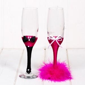 Set pahare roz fucsia pentru nasi