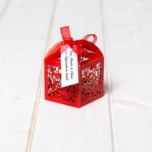 Marturii nunta cutiute laser cut cu fluturas rosu
