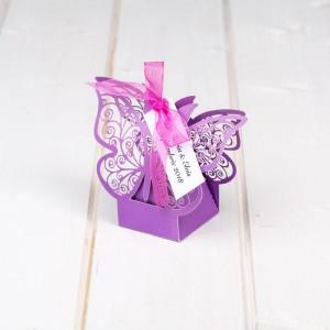 Marturii cutiute botez fluture mov