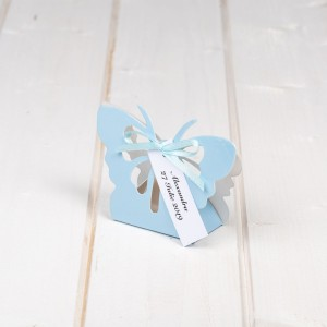 Marturii nunta cutiuta fluture bleu