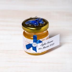 Marturii borcanele miere nunta fluture albastru