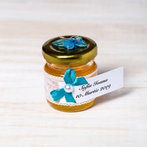 Marturii borcanele miere nunta cu fluture turcoaz