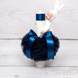 Lumanare botez cu tulle bleumarin si bebelus
