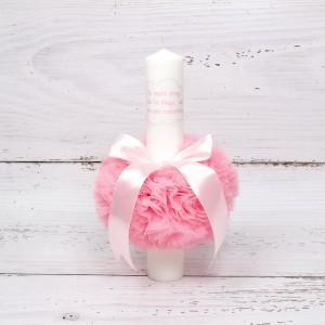 Lumanare botez decor roz Cu mult drag de la nasi