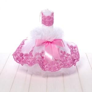 Lumanare botez tulle alb si dantela roz