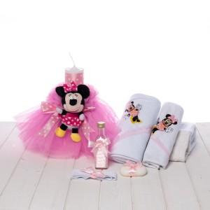 Set botez fete lumanare si trusou Minnie Mouse
