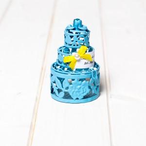 Marturii nunta tort bleu din sarma
