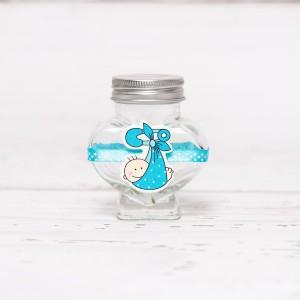 Sticluta de mir inima cu figurina baietel si banda turcoaz cu buline albe