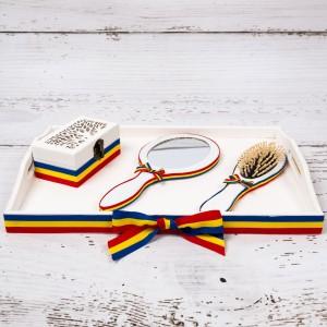 Set gatitul miresei cu decor tricolor