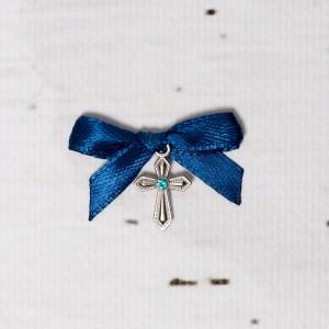 Cruciulite botez cu pietricica bleu si fundita bleumarin