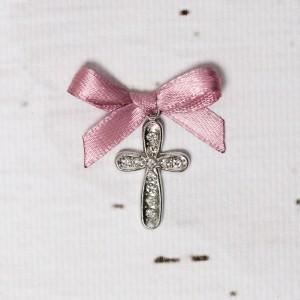 Cruciulite botez cu strassuri transparente si fundita roz prafuit