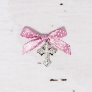 Cruciulite botez biserica cu fundita roz prafuit si buline albe