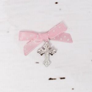 Cruciulite botez biserica cu fundita roz cu buline albe