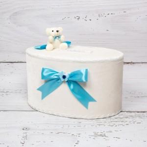 Cutie de dar baieti cu ursulet si funda bleu cu figurina carucior