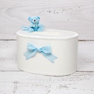 Cutie de dar baieti ursulet bleu cu funde bleu si buline albe