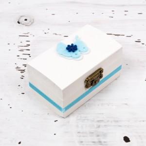 Cutiuta mot botez banda bleu si figurina carucior