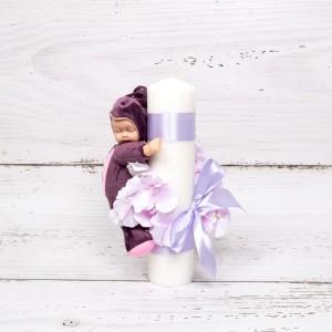 Lumanare botez flori si panglica lila cu jucarie buburuza