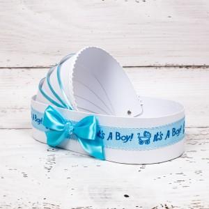 Cutie trusou botez biserica tip landou cu decor bleu It s a boy si suzeta