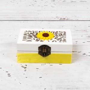 Cutiuta verighete nunta cu decor galben si floarea-soarelui
