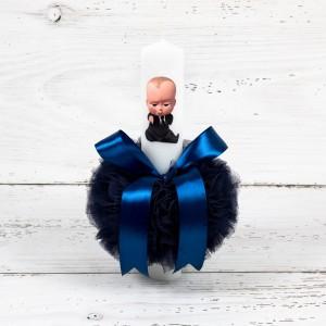 Lumanare botez Baby Boss cu decor bleumarin