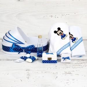 Trusou botez in landou Baby Mickey Mouse albastru si buline