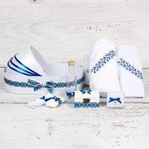 Trusou botez in landou model traditional albastru