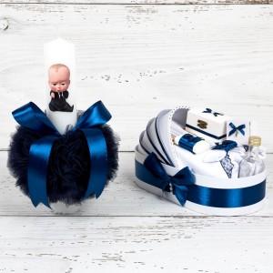 Set botez Baby Boss lumanare si trusou biserica cu decor bleumarin