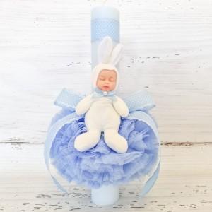 Lumanare bleu botez decor tulle bleu si bebelus
