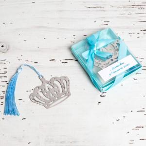 Marturii nunta semn carte coroana regala bleu
