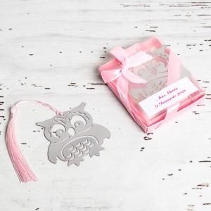 Marturii de nunta semn de carte bufnita roz