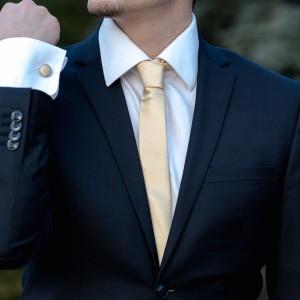 Set crem cravata slim si butoni
