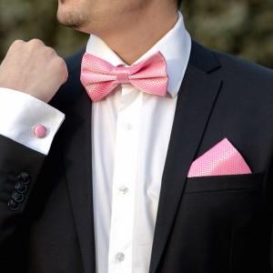 Set roz papion, batista si butoni camasa