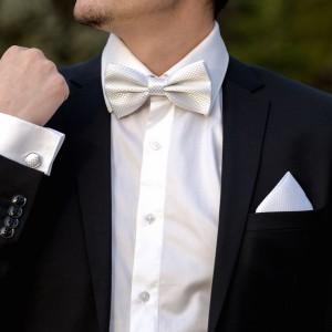 Set alb papion, batista si butoni camasa