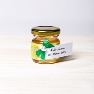 Marturii borcanele miere nunta dantela galbena cu fundita verde