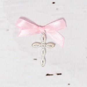 Cruciulite lacrima botez cu fundita roz